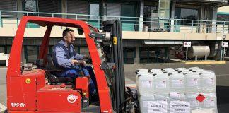 BASF spendet in der Corona-Krise Desinfektionsmittel.